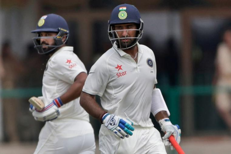 Cheteshwar Pujara and Murali Vijay had a solid century-plus stand for the second wicket to put India in command against New Zealand. (AP)