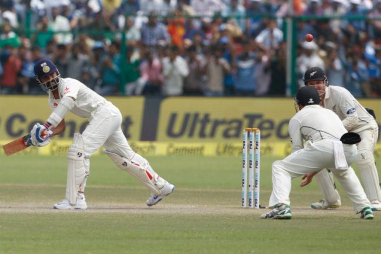Ajinkya Rahane scored 40 off 81 balls before being dismissed by Mitchell Santner. (BCCI Photo)