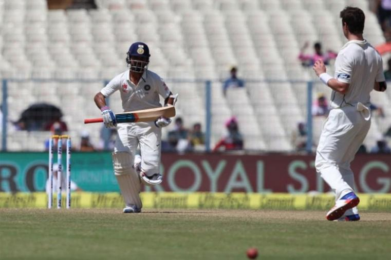 Ajinkya Rahane in action during his solid knock of 77 on day one against New Zealand. (BCCI Image)