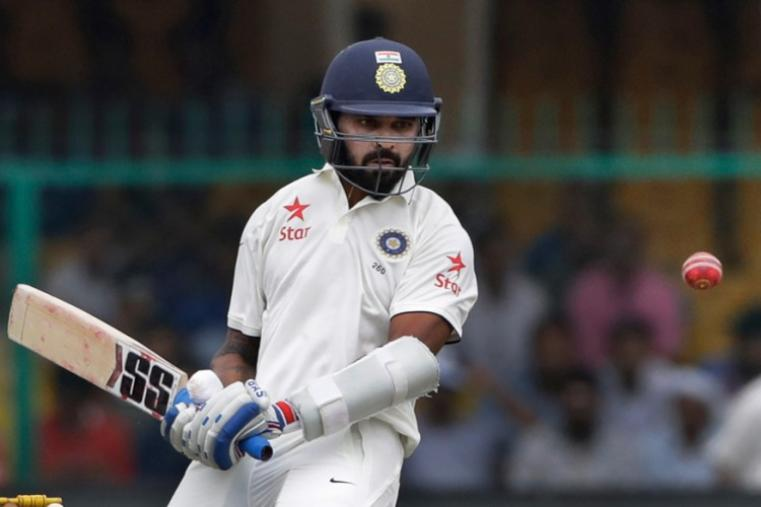 Indian opener Murali Vijay, who scored a brilliant fifty, bats during the opening session on Day 1 against NZ in Kanpur. (AP)