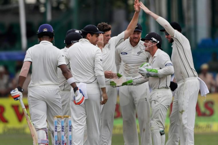 New Zealand team celebrates the wicket of India's KL Rahul during the opening session of 1st Test against India. (AP)