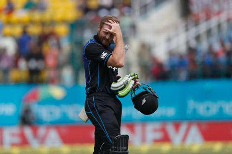 New Zealand batsman Martin Guptil looks disappointed after losing his wicket on Hardik Pandya's delivery in 1st ODI at Dharmshala's HPCA. (Picture Credit: Getty Images)