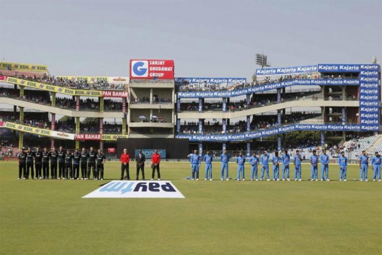 India and New Zealand players during the national anthems. (BCCI Photo)