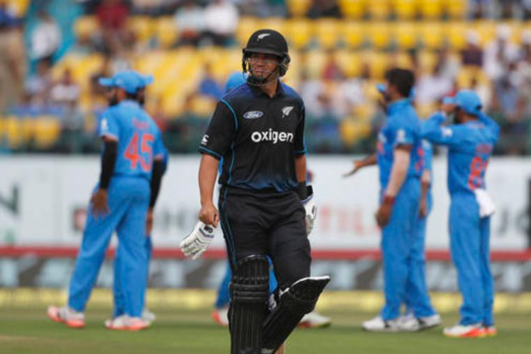 New Zealand batsman Ross Taylor leaves the ground after losing his wicket at Dharmshala's HPCA. (Picture Credit: Getty Images)