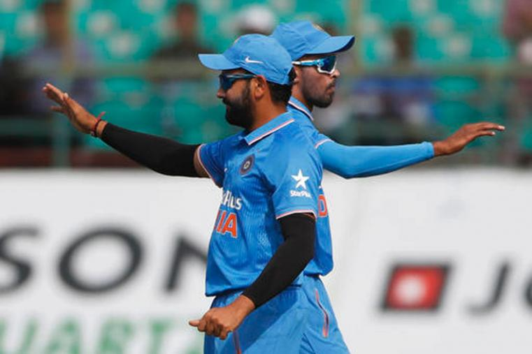 Indian ballers Hardik Pandya and Amit Sharma celebrates the wicket of New Zealand skipper Kane Williamson at Dharmshala's HPCA. (Picture Credit: Getty Images)