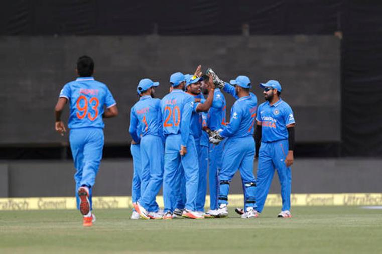 Indian players celebrating the wicket of Corey Anderson in 1st ODI at Dharmshala's HPCA. (Picture Credit: Getty Images)