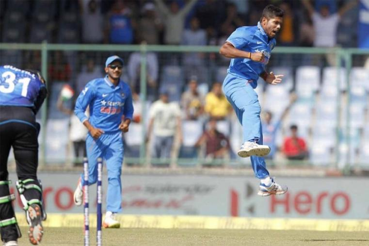 Umesh Yadav exults after dismissing Martin Guptill for a duck. (BCCI Photo)