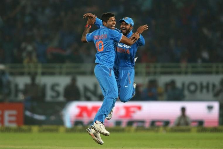 Umesh Yadav celebrates after dismissing Martin Guptill for a duck. (BCCI Photo)