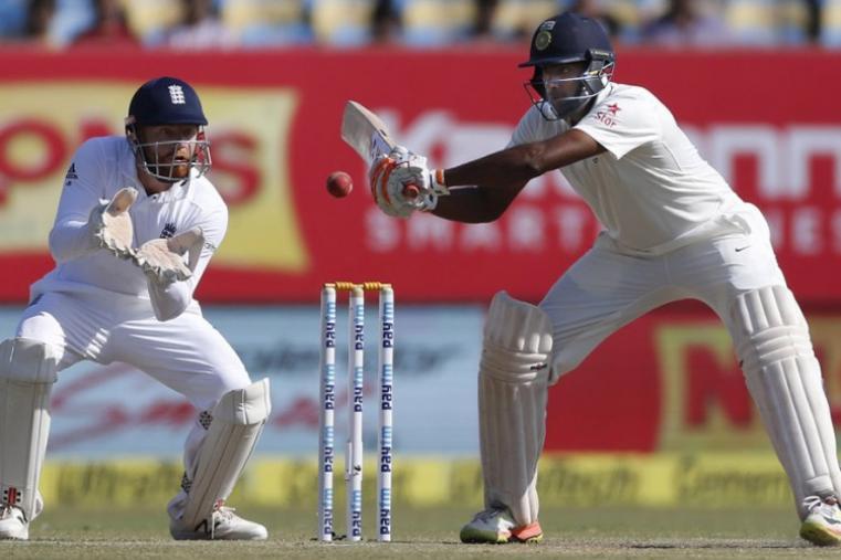Indian batsman Ravichandran Ashwin bats on the fourth day of the Rajkot Test (AP Images)