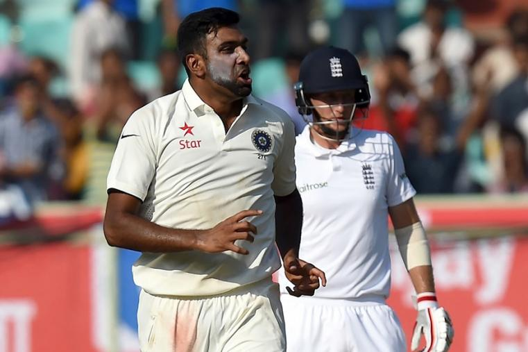 India's Ravichandran Ashwin (L) celebrates the wicket of England's Ben Duckett with teammates during the second day Vizag Test. (AFP Images)