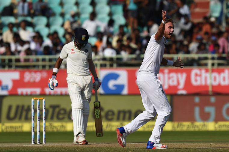 Stuart Broad appeals for the wicket of KL Rahul during the third day of the Vizag Test. (AFP Images)