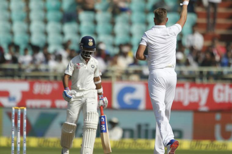 Stuart Broad celebrates the wicket of Ajinkya Rahane during the fourth day for the Vizag Test. (AP Images)