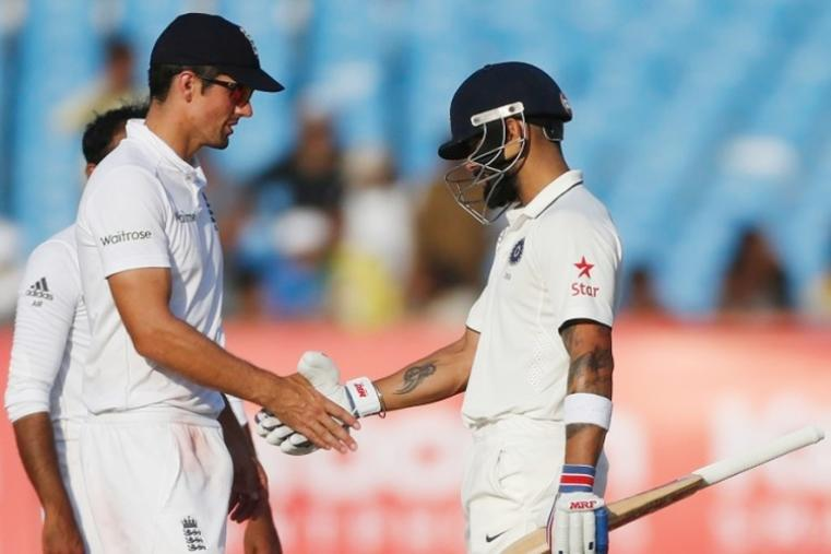 India captain Virat Kohli and England captain Alastair Cook shake hands after the Rajkot Test ended in a draw. (Image credit: AFP)