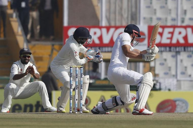 England captain Alastair Cook made 27 but his dismissal came from a rash shot. (AP Photo)