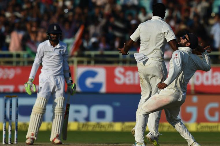 R Ashwin and Virat Kohli celebrate Haseeb Hameed's wicket during the fourth day for the Vizag Test. (AFP Images)