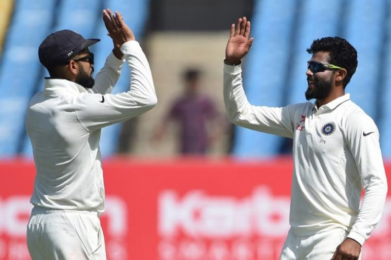 Left-arm spinner Ravindra Jadeja (3-86) was the most successful bowlers for the hosts. (AFP Photo)
