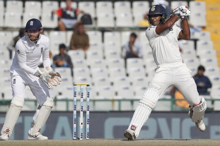 India's Jayant Yadav plays a shot against England on the third day of the Mohali Test. (AP Images)
