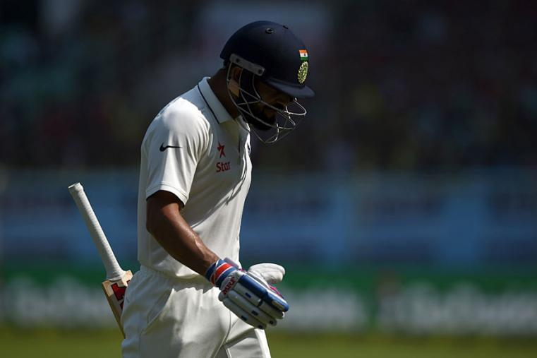 Indian skipper Virat Kohli was frustrated after getting out for 81 in the second innings during the fourth day of the Vizag Test. (AFP Images)