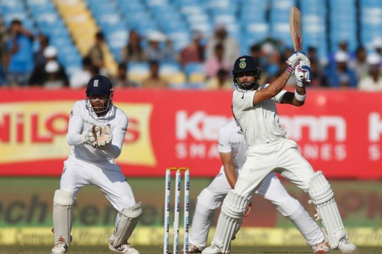 Virat Kohli frustrated the touring side with a fifth-wicket stand of 47 with Ravichandran Ashwin, who made 32. The pair batted out over 15 overs to take India closer to the draw before Ashwin drove left-arm spinner Zafar Ansari straight to Joe Root in the covers. (Image credit: AFP)