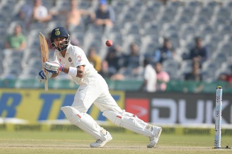 Virat Kohli, who was involved in a 75-run partnership with Cheteshwar Pujara, was the top scorer among the Indian batsmen with 62 runs off 127 balls. (AFP Photo)