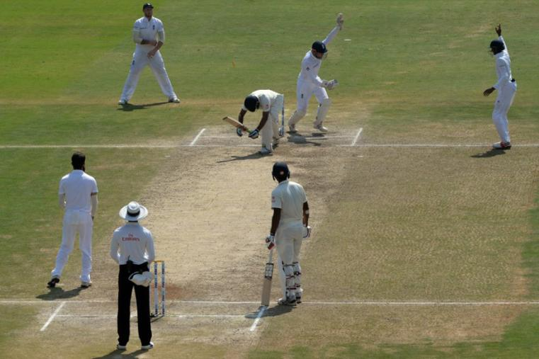 Jonny Bairstow stumped Mohammed Shami off Moeen Ali during the fourth day for the Vizag Test. (AFP Images)