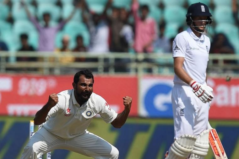 Mohammed Shami celebrates after dismissing Joe Root for 25 runs. (AFP Photo)