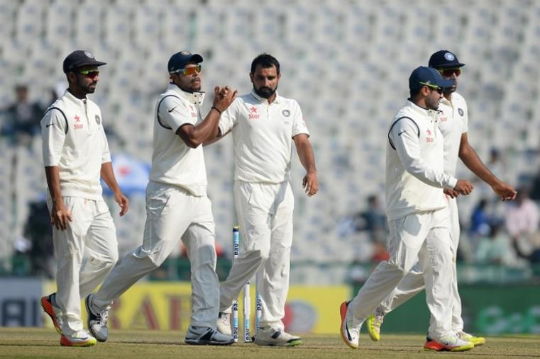Mohammed Shami finally tasted success when he bounced out Moeen Ali, who failed to justify his promotion to number four and fell for 16 as England limped to lunch on 92-4. (AP Photo)