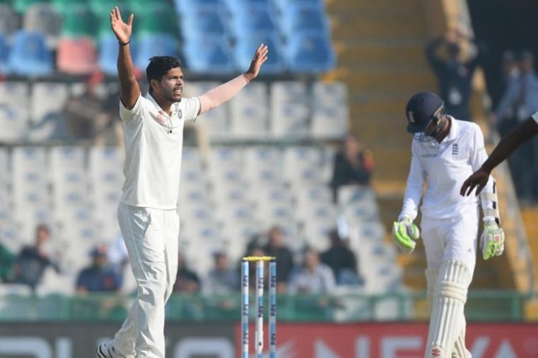 Paceman Umesh Yadav drew first blood when he got Haseeb Hameed caught for nine at gully with a delivery that kicked up off a length. (AP Photo)
