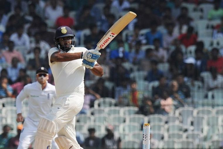 Playing only his third Test, Karun Nair forged two major partnerships -- 181 for the sixth wicket with Ravichandran Ashwin (67) and then 138 for the seventh wicket with Ravindra Jadeja (51) -- to take India to the record total at the MA Chidambaram Stadium. (AFP Photo)