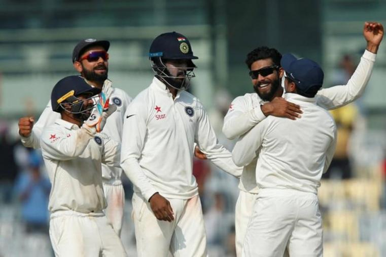 Left-arm-spinner Ravindra Jadeja led the Indian bowling with figures of 7/48 as the visitors were bundled out for 207 in the second innings. (Image credit: Reuters)