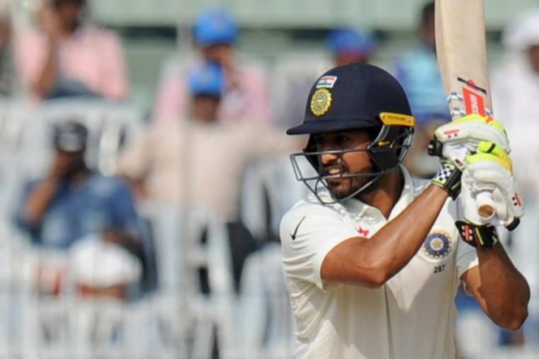 Karun Nair was batting on 71, his maiden Test fifty, at stumps with Murali Vijay, who dropped down the order following a shoulder injury, on 17 at the other end. (AFP Photo)