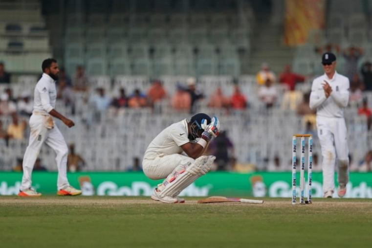 India opener Lokesh Rahul fell agonisingly short of his maiden Test double century as he helped his team to 391 for four in a robust reply to England's first innings total of 477 in the fifth and final Test in Chennai. (AFP Photo)