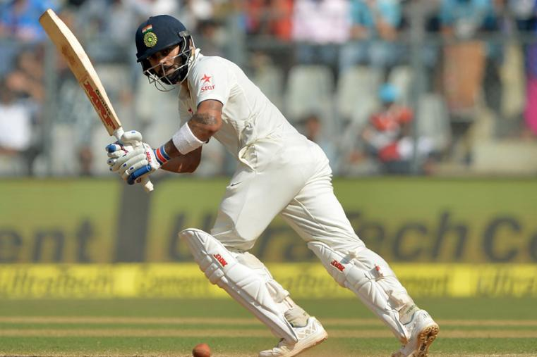 India's captain Virat Kohli plays a shot  during the third day of the fourth Test between India and England at Wankhede. (AFP Images)