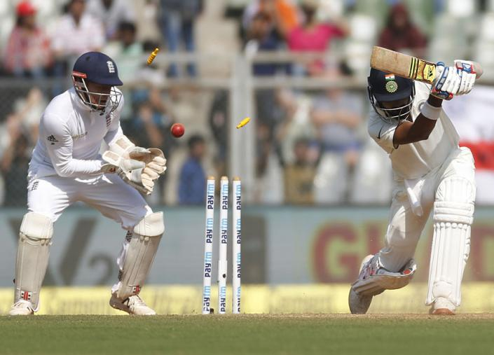 KL Rahul was bowled by Moeen Ali during the fourth Test between India and England in Mumbai. (AFP Images)