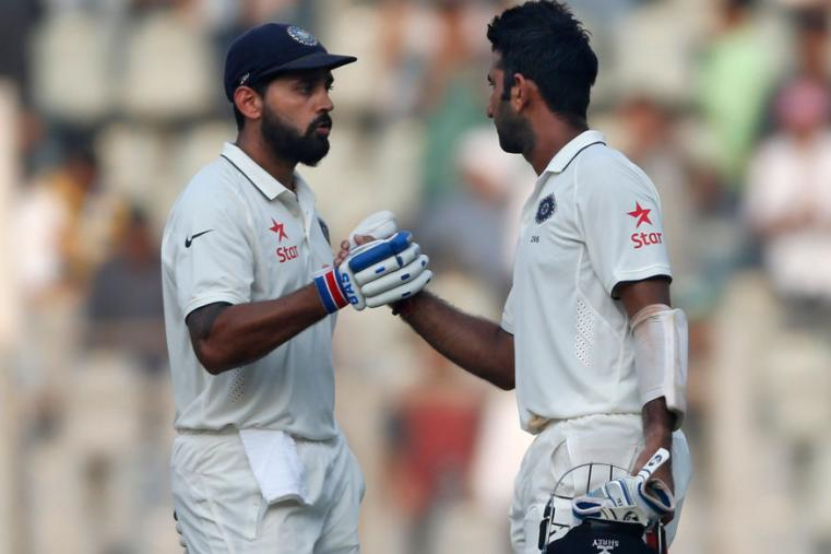Murali Vijay and Cheteshwar Pujara during the second day of the fourth Test between India and England at Mumbai (AP Photo)