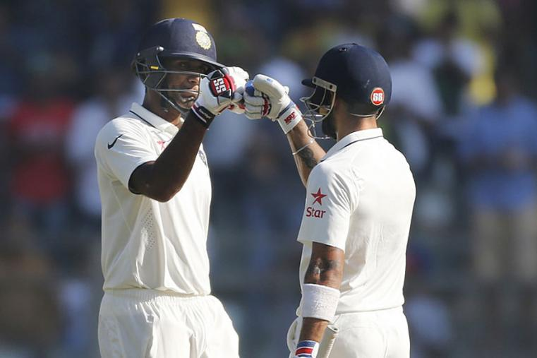 Virat Kohli and Jayant Yadav added an India record eighth-wicket stand during the fourth day of the fourth Test between India and England at the Wankhede. (AP Images)