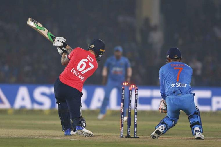 England's Jason Ray is bowled by India's Yuzvendra Chahal during their first Twenty20 cricket match at Green Park stadium in Kanpur. (AP Photo)