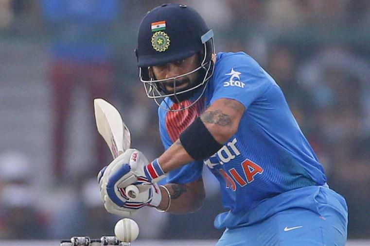 India's captain Virat Kohli playing a shot during their first Twenty20 match against England. (AP Photo)
