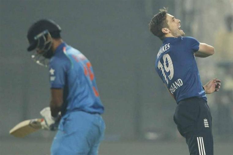 Chris Woakes, who bowled the final over with India needing 16 to win, held his nerve to give England their first victory on the tour. (BCCI Photo)