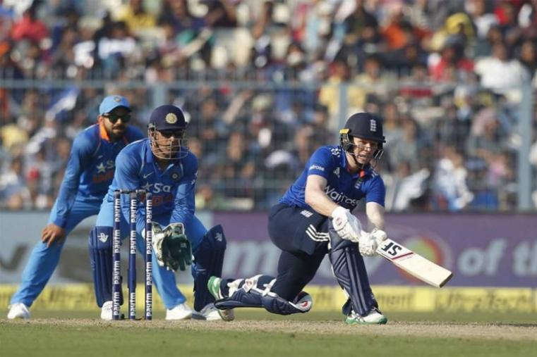 Eoin Morgan, who struck a valiant 102 in England's second loss on Thursday, once again looked like he would pilot the innings with some assured hitting. The left-hander shared an 84-run third-wicket partnership with Bairstow (56), who was added to the side in place of injured Alex Hales, before falling to Hardik Pandya. (BCCI Photo)