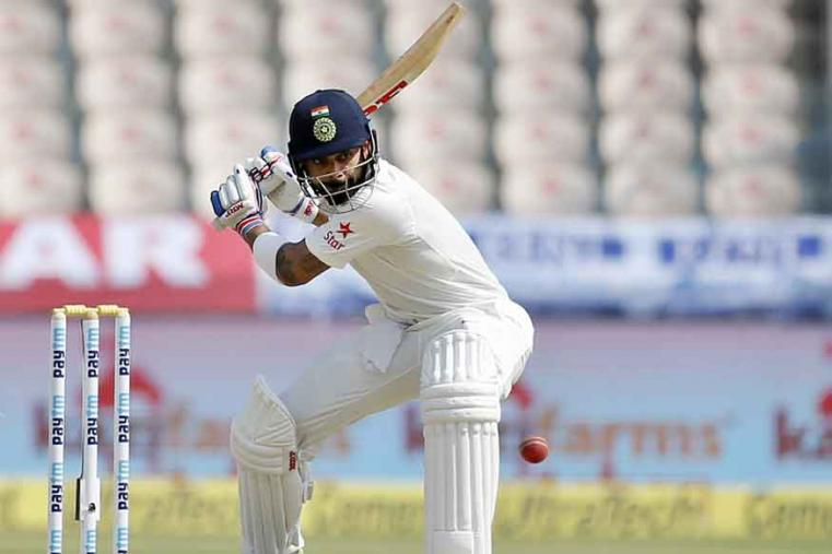India's captain Virat Kohli bats during the second day of the cricket test match against Bangladesh in Hyderabad. (AP Photo)