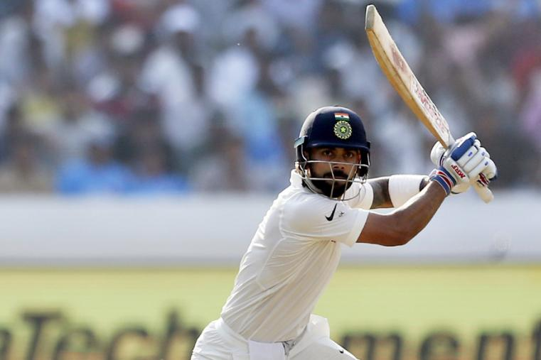 India's captain Virat Kohli plays a shot during the first day of the Hyderabad Test. (AP Photo)