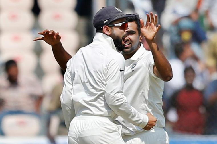 Ravichandran Ashwin celebrates after dismissing Shakib Al Hasan for 82 runs. (AP Photo)