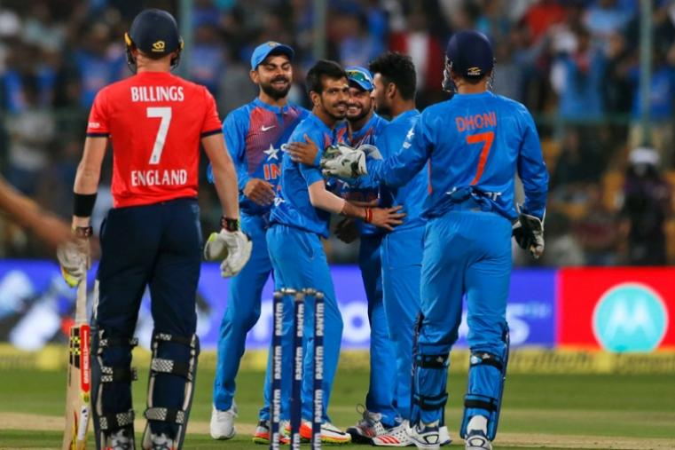 Leg-spinner Yuzvendra Chahal claimed six wickets to demolish England and hand India a 75-run series-clinching win in the third and final Twenty20 international in Bangalore. (AP Photo)