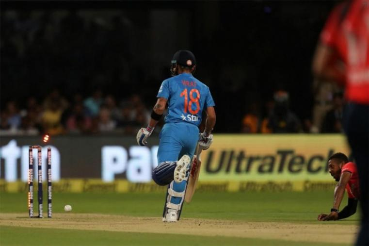 India lost skipper Virat Kohli for two after a terrible mix up with Lokesh Rahul (22) saw the star batsman being run out. Kohli was furious with Rahul for not responding to his call for a single. (BCCI Photo)