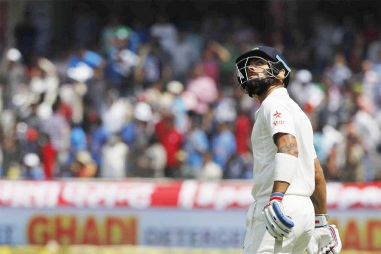 Cheteshwar Pujara (54 not out) and skipper Virat Kohli (38) then built a 67-run partnership before Kohli was caught at short mid-wicket by Mahmudullah off Shakib Al Hasan. Kohli's 40-ball knock was laced with two boundaries and one six. (BCCI Photo)