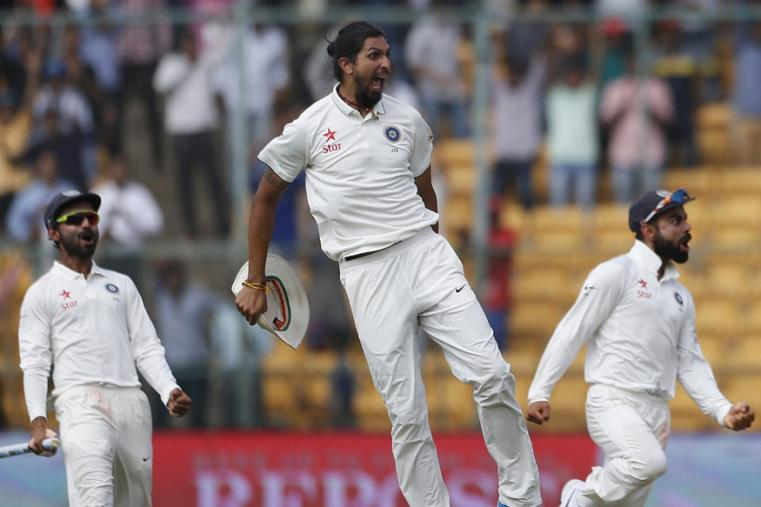 Indian players celebrate their win over Australia on the fourth day of the Bengaluru Test. (AP Photo)