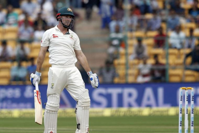 Australia's Shaun Marsh reacts after playing a shot during the second day of the Bengaluru Test. (AP Photo)