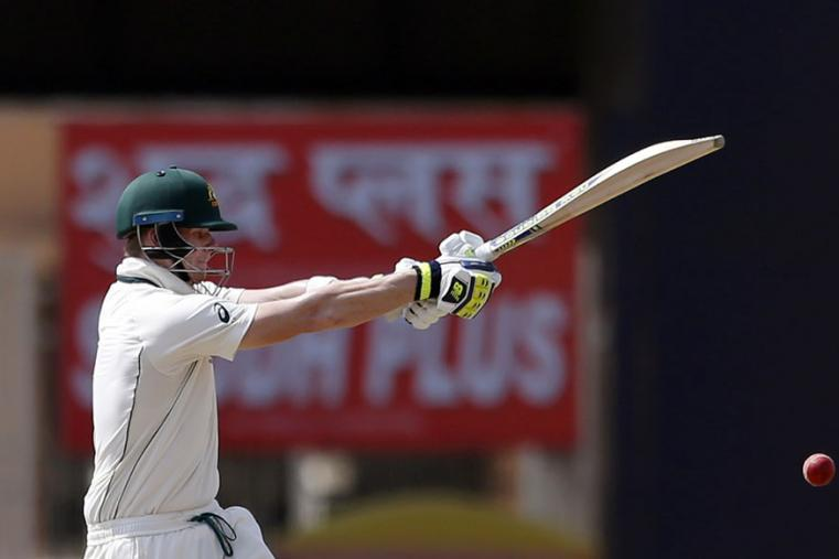Australia's captain Steven Smith plays a shot during the second day of the Ranchi Test. (AP Photo)
