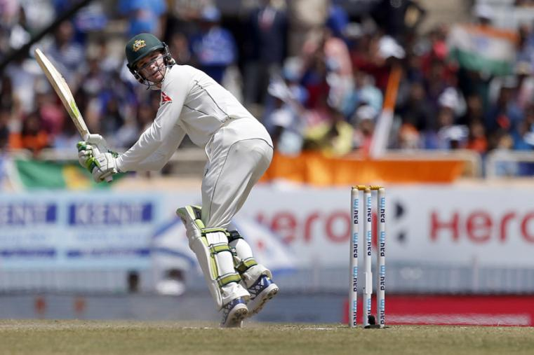 Australia's Peter Handscomb watches his shot during the fifth day of the Ranchi Test. (AP Photo)